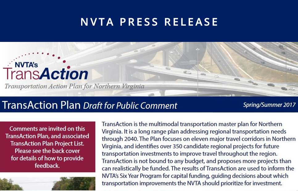 NVTA Seeks Public Input on Draft TransAction Plan